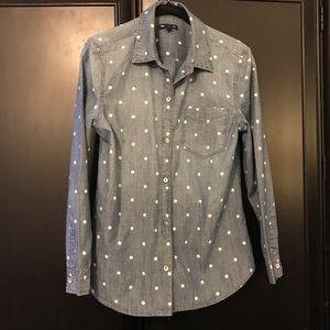 GAP Chambray Top w/ White Polka Dots - Size Small